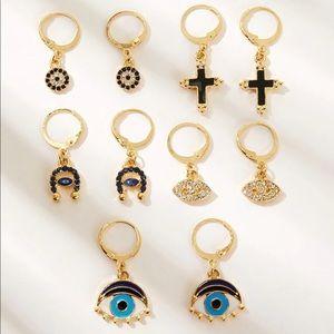 Jewelry - 🧿Evil eye & cross drop earring set🧿